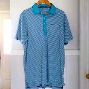 RLX Ralph Lauren teal blue striped polo sh…